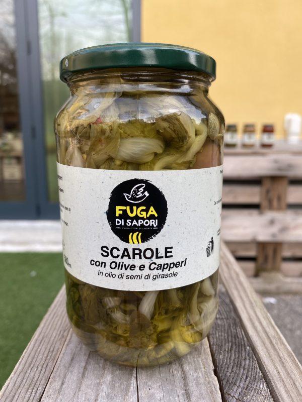 Scarole con olive e capperi sottolio